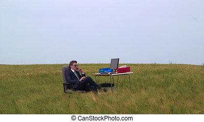 bureau, virtuel, air, téléphone, homme affaires, ouvert