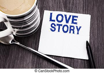 bureau, vue., aimer, texte, tissu, coffee., projection, business, amour, concept, arrière-plan., mouchoir, bois, quelqu'un, bois, sommet, coeur papier, manuscrit, story., marqueur, écrit