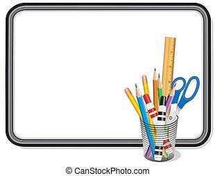 bureau, whiteboard, fournitures