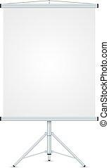 bureau, whiteboard, isolé, arrière-plan., vecteur, gabarit, vide, blanc