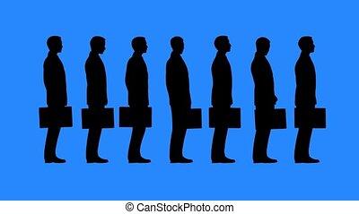 Bureaucracy concept. Queue of people waiting. High...