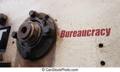 Bureaucracy conceptual metaphor - Machine wheels rotating...