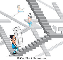 Bureaucracy maze - Illustration Businessmen lost in the...