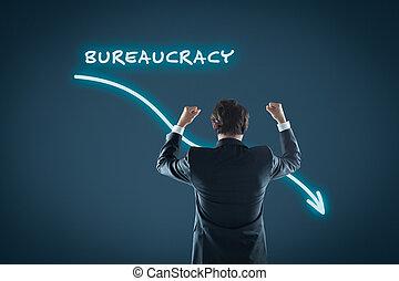 Bureaucracy reduction concept. Businessman celebrate...