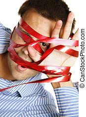 Bureaucracy - Man struggling against overpowering...