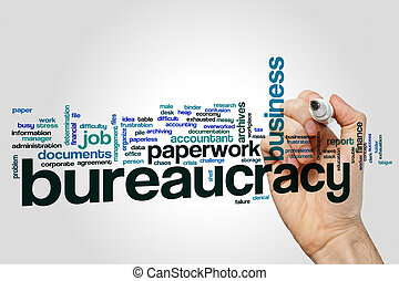 Bureaucracy word cloud on grey background