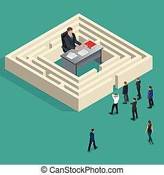 Bureaucrat in the maze. People stand in a queue. Bureaucracy concept. Flat 3d vector isometric illustration.