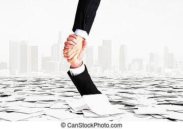 bureaucratie, hand, dons, gaan, hulp, een ander, niet