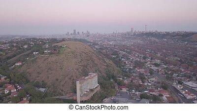 bureaux, bâtiments, sud, afrique., en ville, vue, élevé, ...