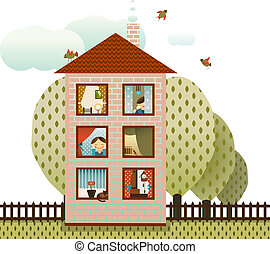 buren, woning, dorp