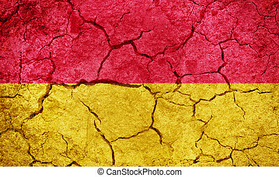Burgenland, Austria flag on dry earth ground texture background