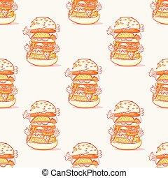 burger, 巨大, seamless, 圖案