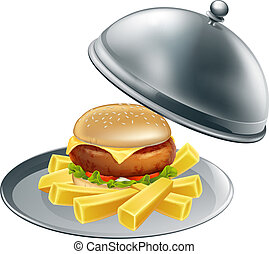 Burger and chips on a silver platter - An illustration of...