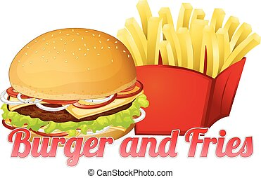 Burger and Fries - Illustration of a burger and fries poster