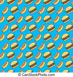 vector seamless pattern of funny cartoonish hot dogs and burgers on blue background