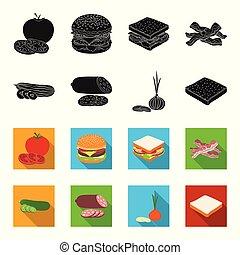Burger and ingredients black, flet icons in set collection for design. Burger cooking vector symbol stock web illustration.