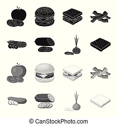Burger and ingredients black, monochrome icons in set collection for design. Burger cooking vector symbol stock web illustration.