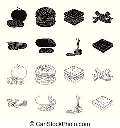Burger and ingredients black, outline icons in set collection for design. Burger cooking vector symbol stock web illustration.