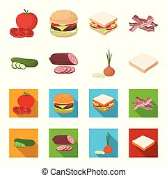 Burger and ingredients cartoon, flat icons in set collection for design. Burger cooking vector symbol stock web illustration.
