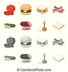 Burger and ingredients cartoon, monochrome icons in set collection for design. Burger cooking vector symbol stock web illustration.