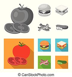 Burger and ingredients monochrome, flat icons in set collection for design. Burger cooking vector symbol stock web illustration.