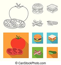 Burger and ingredients outline, flat icons in set collection for design. Burger cooking vector symbol stock web illustration.