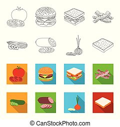 Burger and ingredients outline, flet icons in set collection for design. Burger cooking vector symbol stock web illustration.