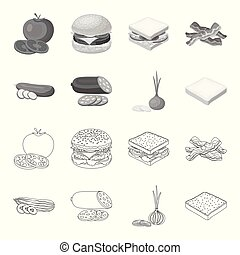 Burger and ingredients outline, monochrome icons in set collection for design. Burger cooking vector symbol stock web illustration.