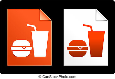 Burger and Soda on Paper Set Original Vector Illustration AI...