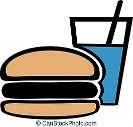 Burger and Softdrink cartoon style