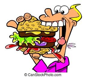Burger Boy.WBG. - Greedy boy with hamburger on white...