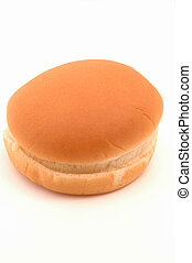 one hamburger bun on white