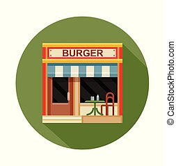 Burger cafe front view flat icon, vector illustration