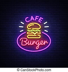 Burger cafe neon sign. Fastfood burger sandwich neon style logo, bright banner, design template, night neon advertising for dining, cafe, restaurant, snack bar, street food. Vector Illustrations