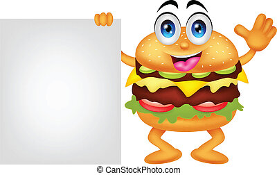 burger cartoon characters with blan