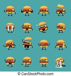 Burger character emoji set