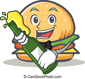 burger character fast food with beer