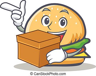 burger character fast food with box