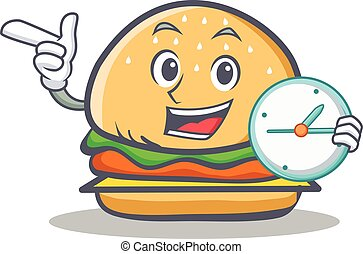 burger character fast food with clock