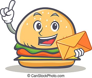 burger character fast food with envelope