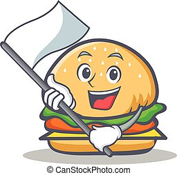 burger character fast food with flag