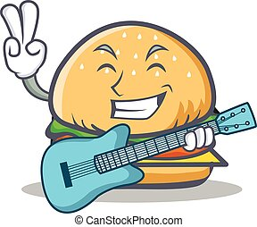 burger character fast food with guitar