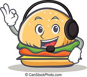 burger character fast food with headphone