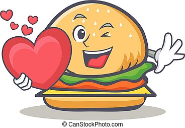 burger character fast food with heart