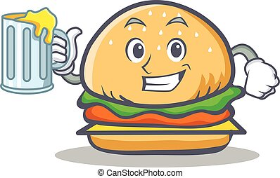 burger character fast food with juice