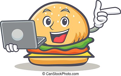 burger character fast food with laptop
