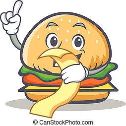 burger character fast food with menu