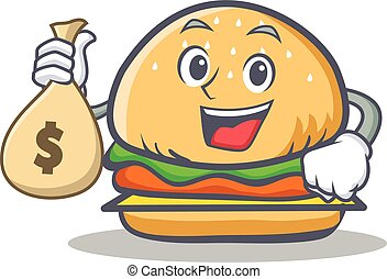 burger character fast food with money bag