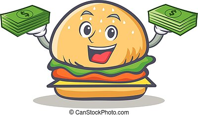 burger character fast food with money