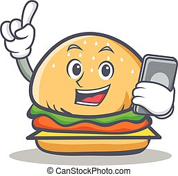 burger character fast food with phone